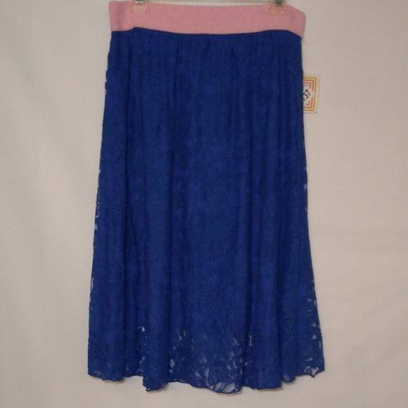 Lula Roe Lola Blue Lace Skirt